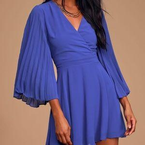 NWT Lulus's Royal Blue Pleated dress size xs